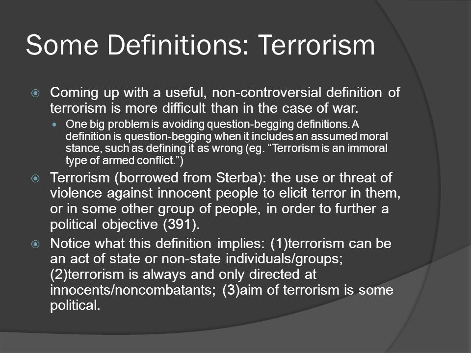Some Definitions: Terrorism