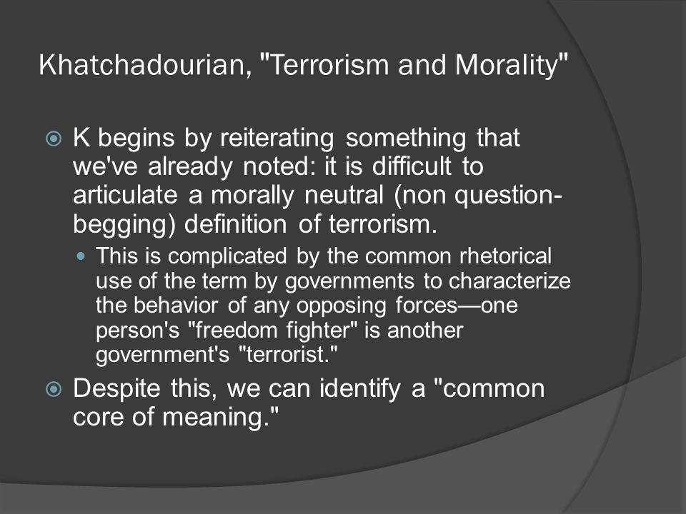 Khatchadourian, Terrorism and Morality