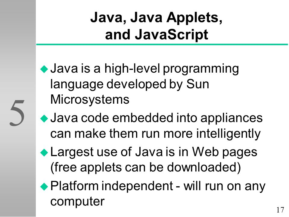 Java, Java Applets, and JavaScript