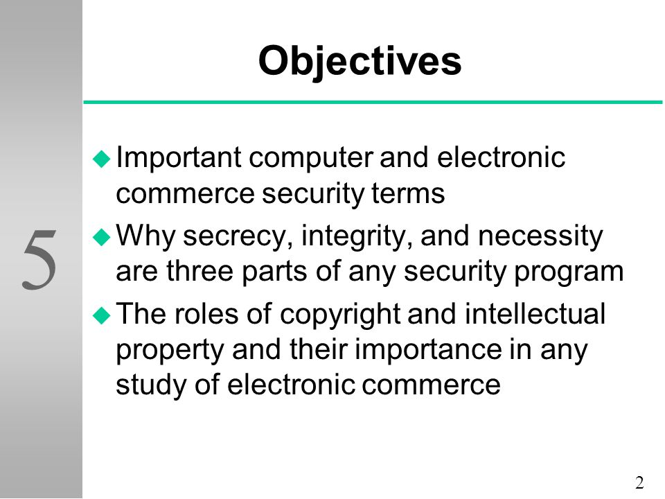 Objectives Important computer and electronic commerce security terms