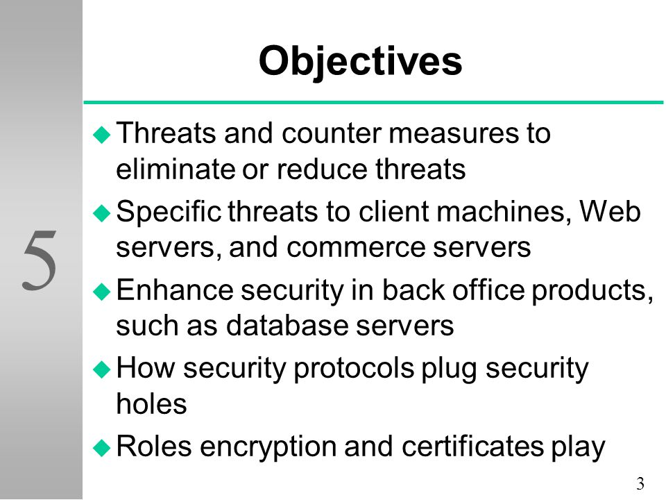 Objectives Threats and counter measures to eliminate or reduce threats