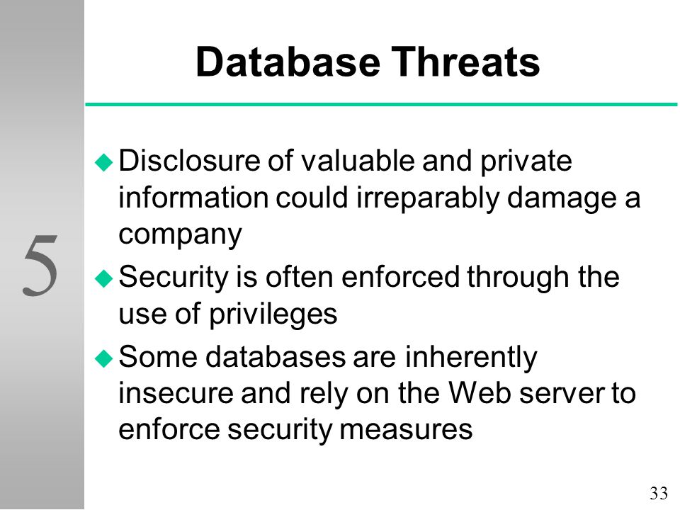 Database Threats Disclosure of valuable and private information could irreparably damage a company.