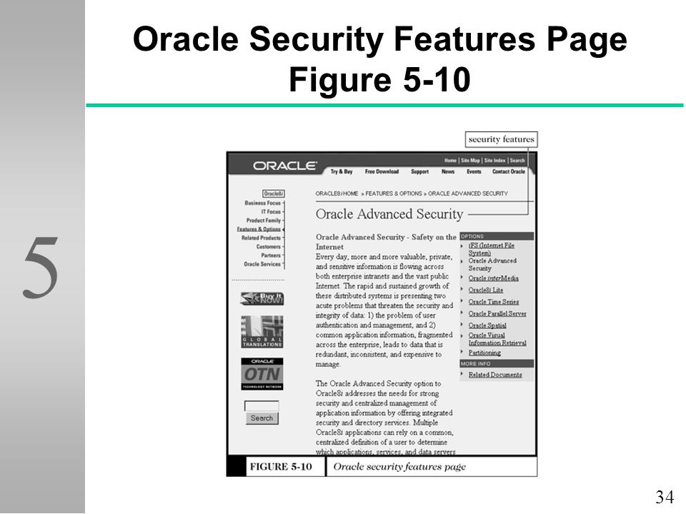 Oracle Security Features Page