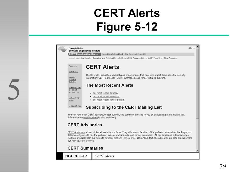 CERT Alerts Figure 5-12