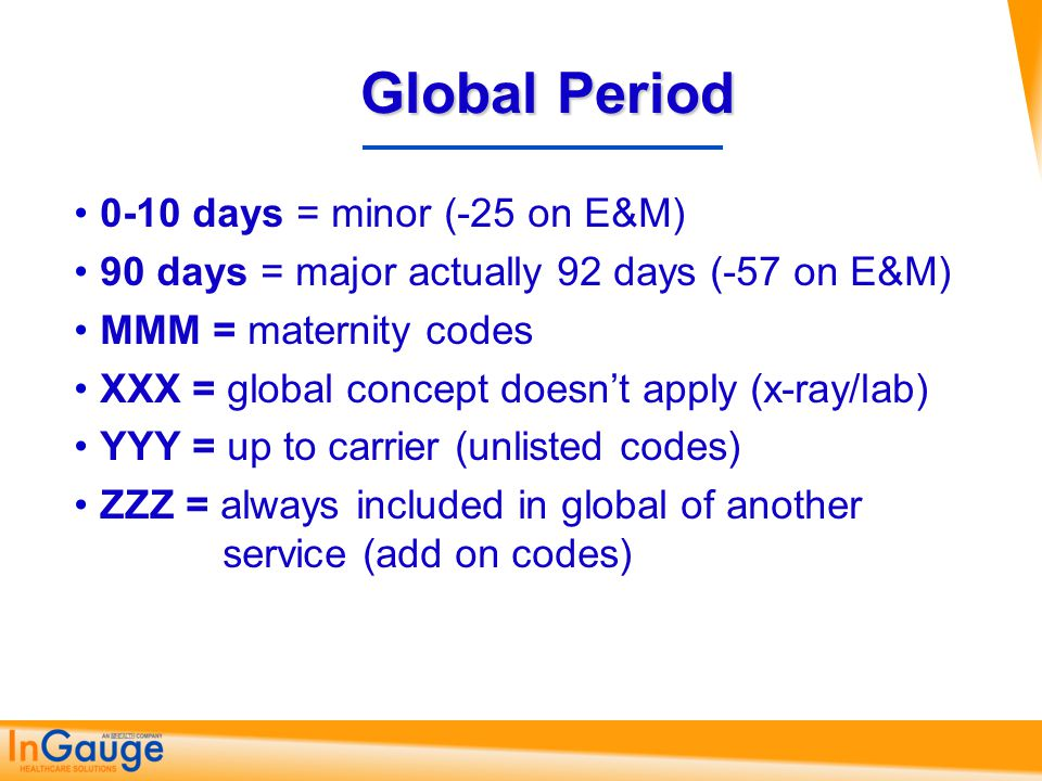Global Period 0-10 days = minor (-25 on E&M)