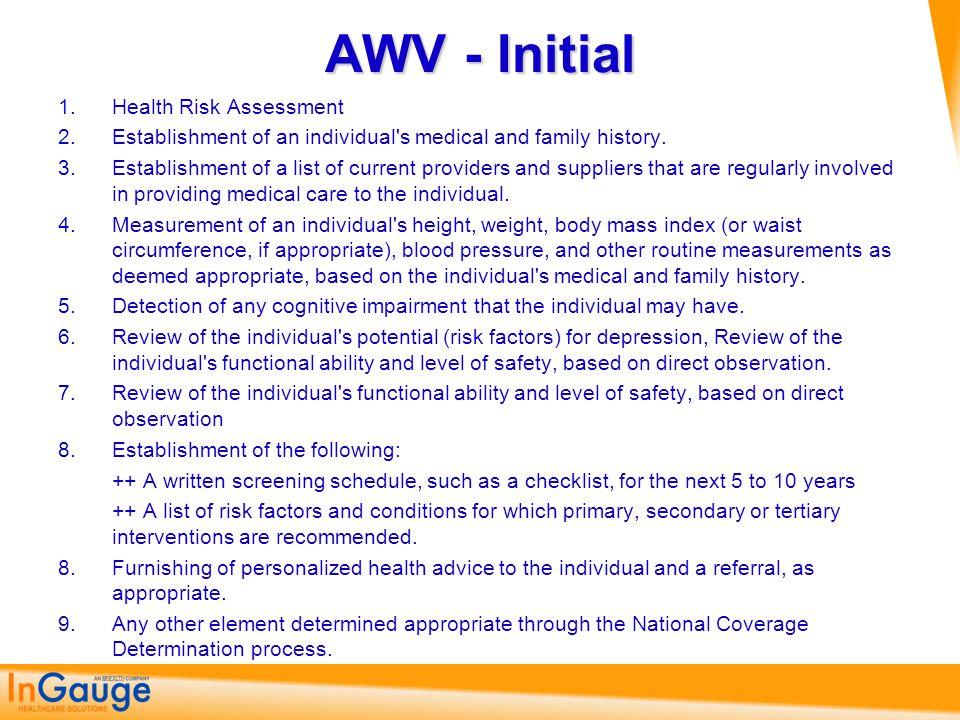 AWV - Initial Health Risk Assessment