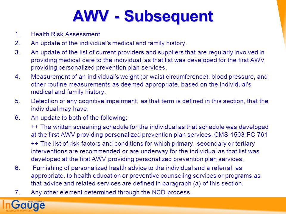 AWV - Subsequent Health Risk Assessment