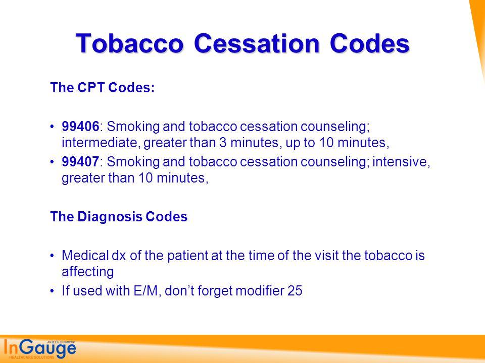 Tobacco Cessation Codes
