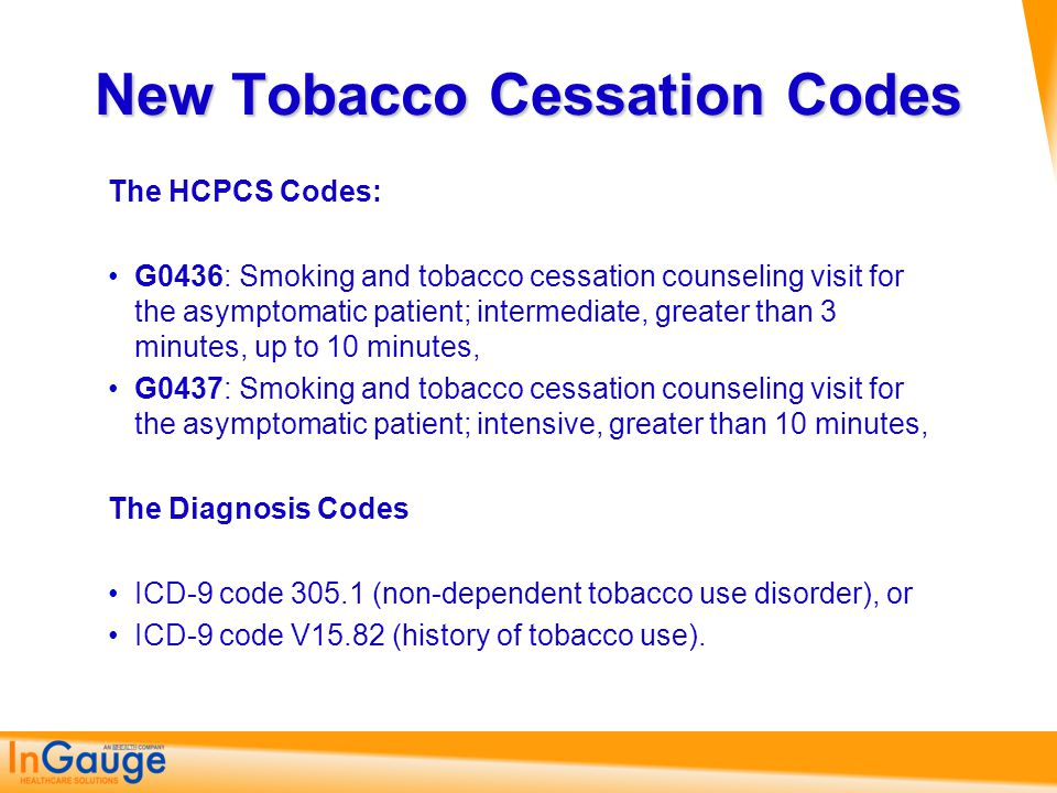 New Tobacco Cessation Codes