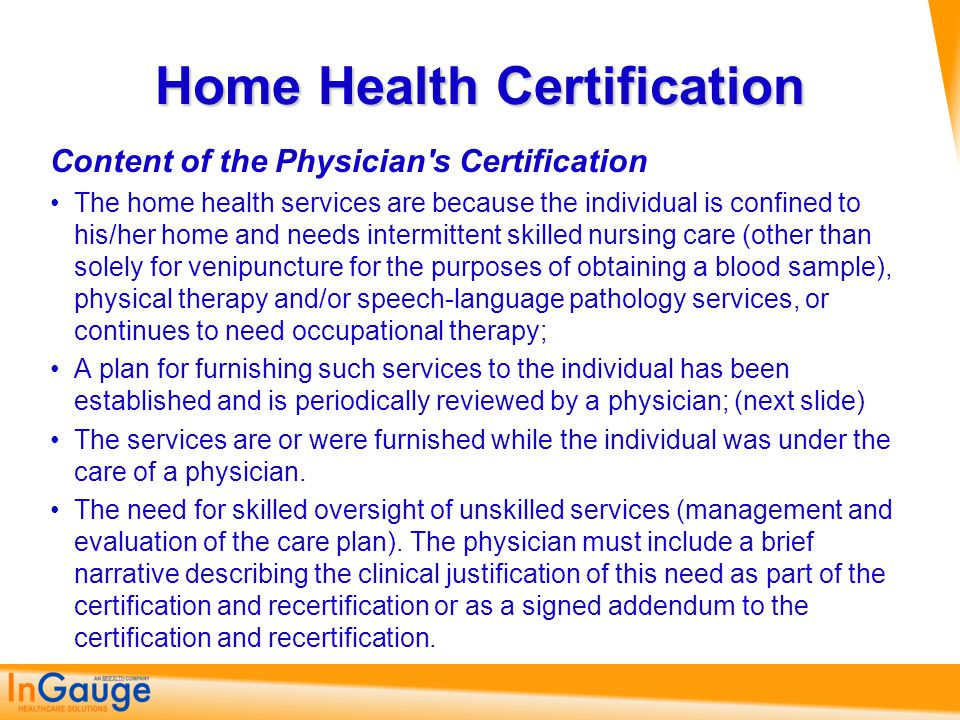 Home Health Certification