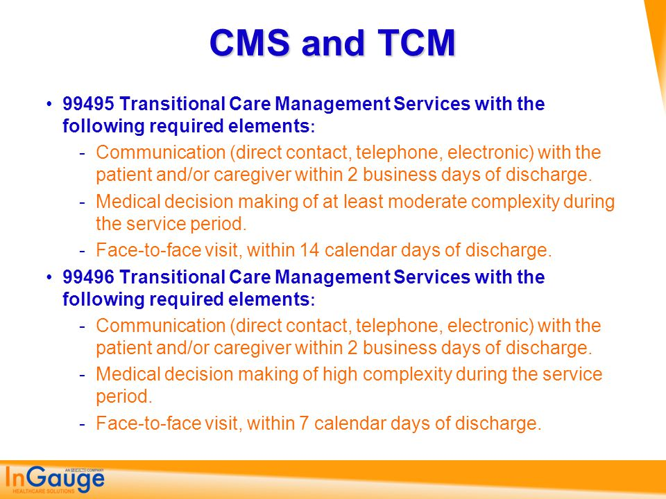 CMS and TCM 99495 Transitional Care Management Services with the following required elements: