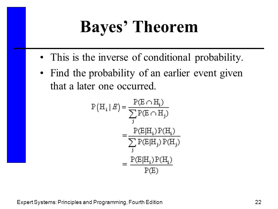 Bayes' Theorem This is the inverse of conditional probability.