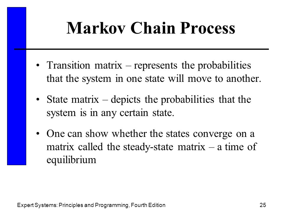 Markov Chain Process Transition matrix – represents the probabilities that the system in one state will move to another.