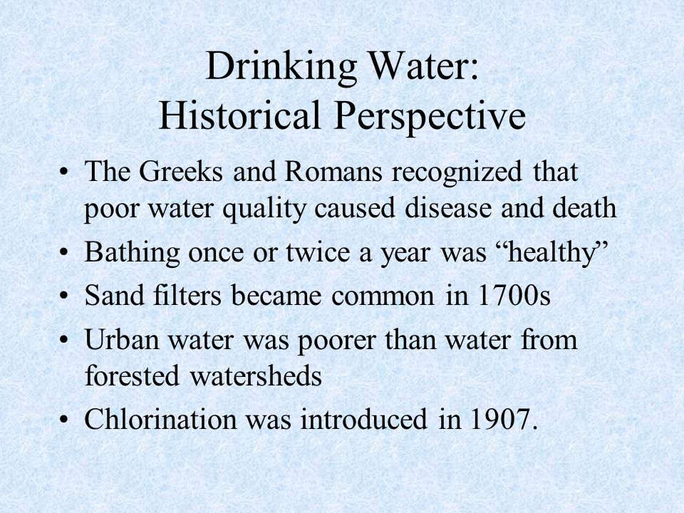 Drinking Water: Historical Perspective
