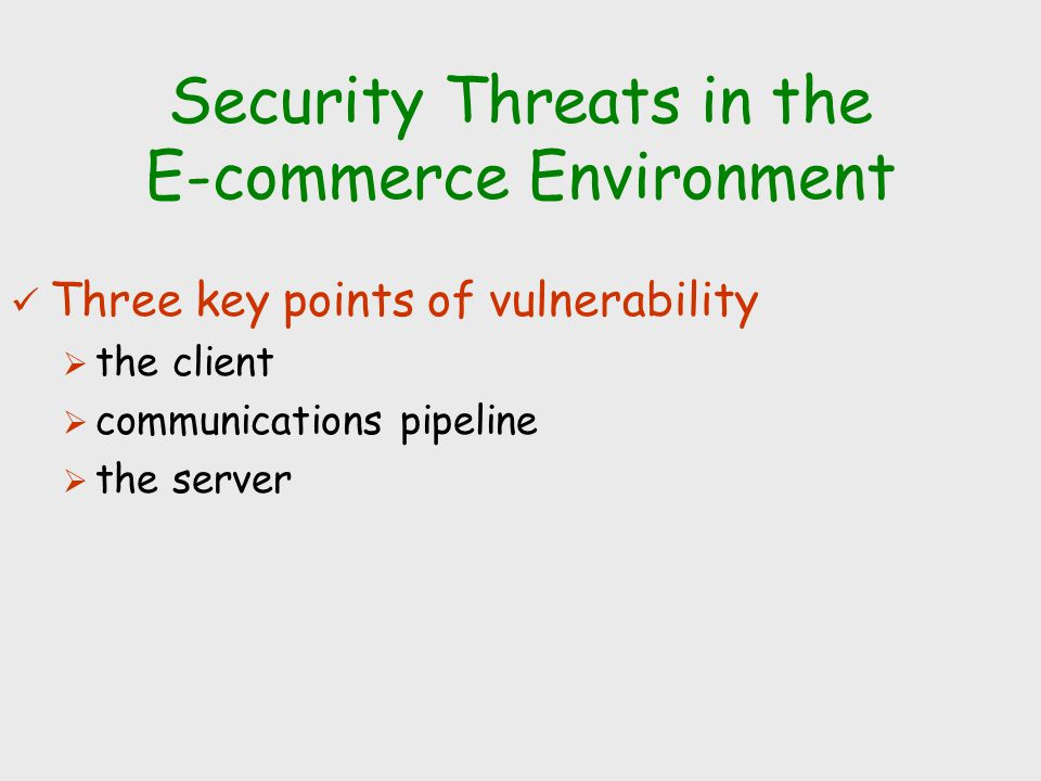 Security Threats in the E-commerce Environment
