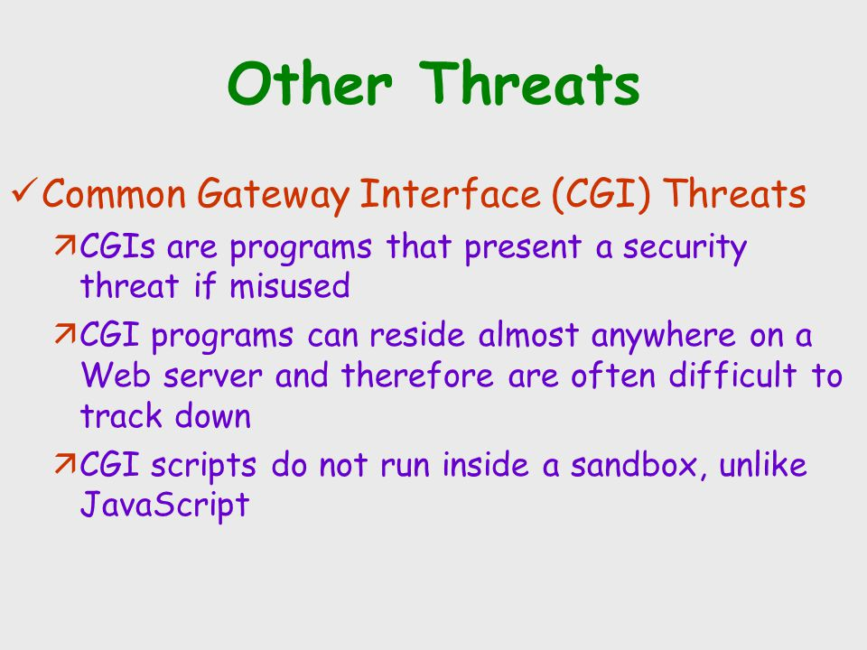 Other Threats Common Gateway Interface (CGI) Threats