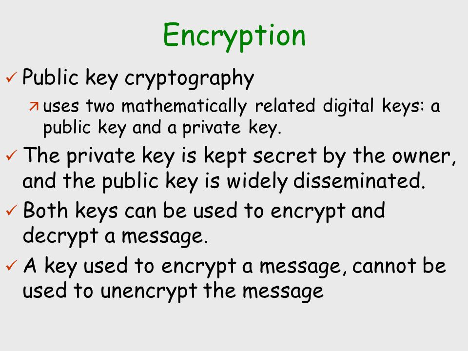 Encryption Public key cryptography