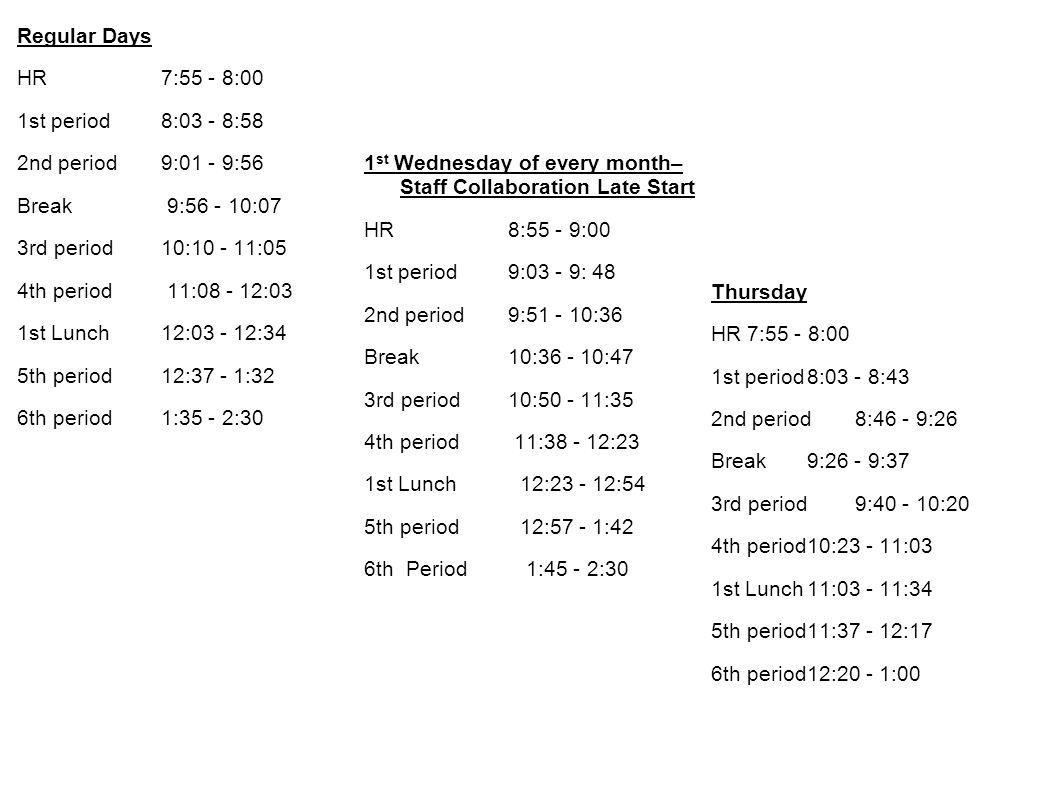 Regular Days HR 7:55 - 8:00 1st period 8:03 - 8:58 2nd period 9:01 - 9:56 Break 9:56 - 10:07 3rd period 10:10 - 11:05 4th period 11:08 - 12:03 1st Lunch 12:03 - 12:34 5th period 12:37 - 1:32 6th period 1:35 - 2:30 1st Wednesday of every month– Staff Collaboration Late Start HR 8:55 - 9:00 1st period 9:03 - 9: 48 2nd period 9:51 - 10:36 Break 10:36 - 10:47 3rd period 10:50 - 11:35 4th period 11:38 - 12:23 1st Lunch 12:23 - 12:54 5th period 12:57 - 1:42 6th Period 1:45 - 2:30 Thursday HR 7:55 - 8:00 1st period 8:03 - 8:43 2nd period 8:46 - 9:26 Break 9:26 - 9:37 3rd period 9:40 - 10:20 4th period 10:23 - 11:03 1st Lunch 11:03 - 11:34 5th period 11:37 - 12:17 6th period 12:20 - 1:00
