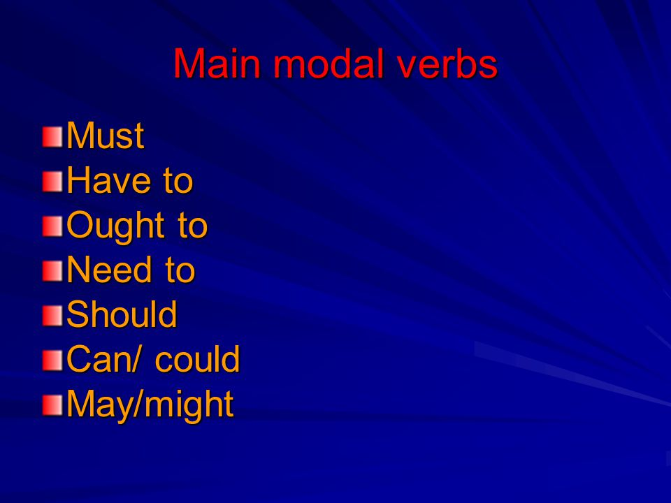 Main modal verbs Must Have to Ought to Need to Should Can/ could
