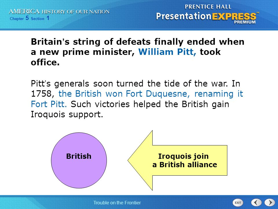 Britain's string of defeats finally ended when a new prime minister, William Pitt, took office.