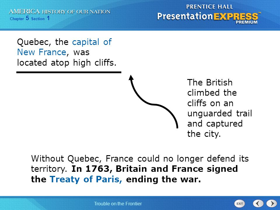 Quebec, the capital of New France, was located atop high cliffs.