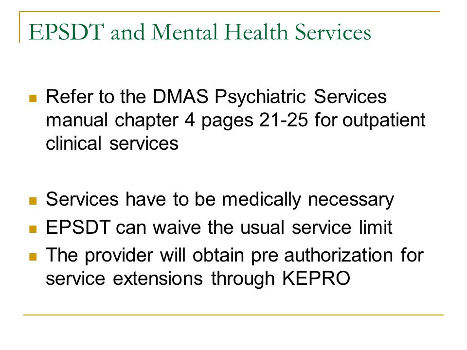 EPSDT and Mental Health Services