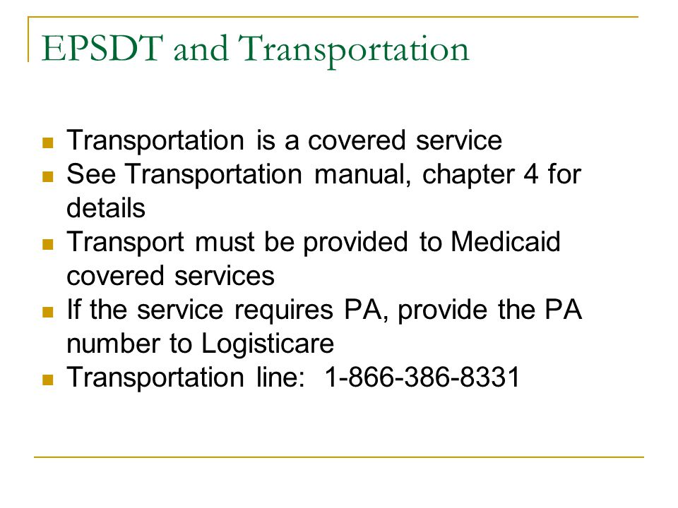 EPSDT and Transportation