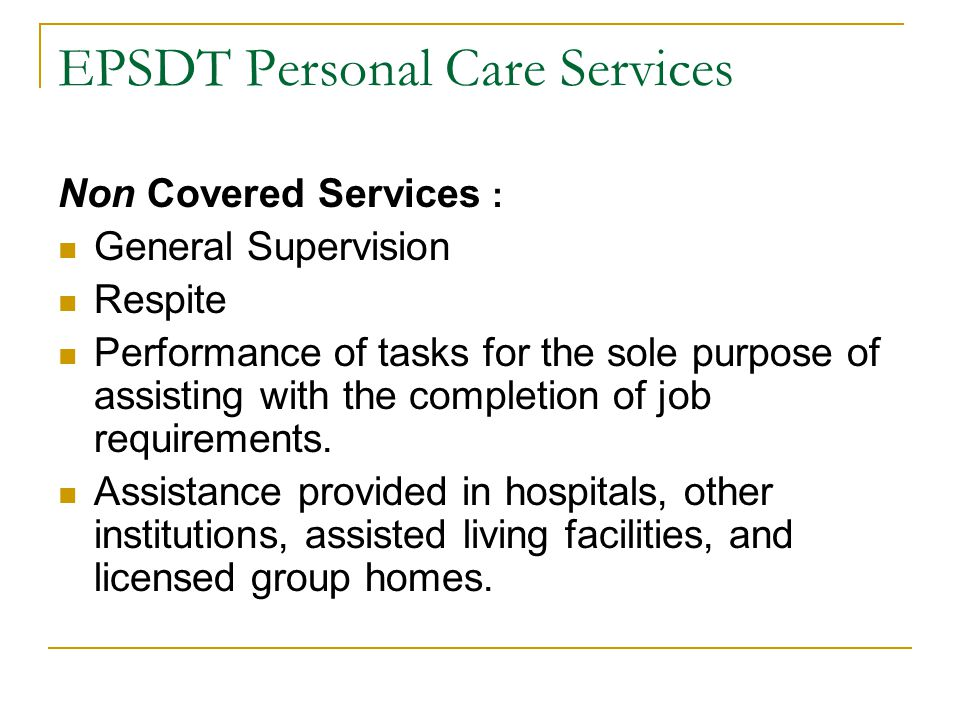 EPSDT Personal Care Services