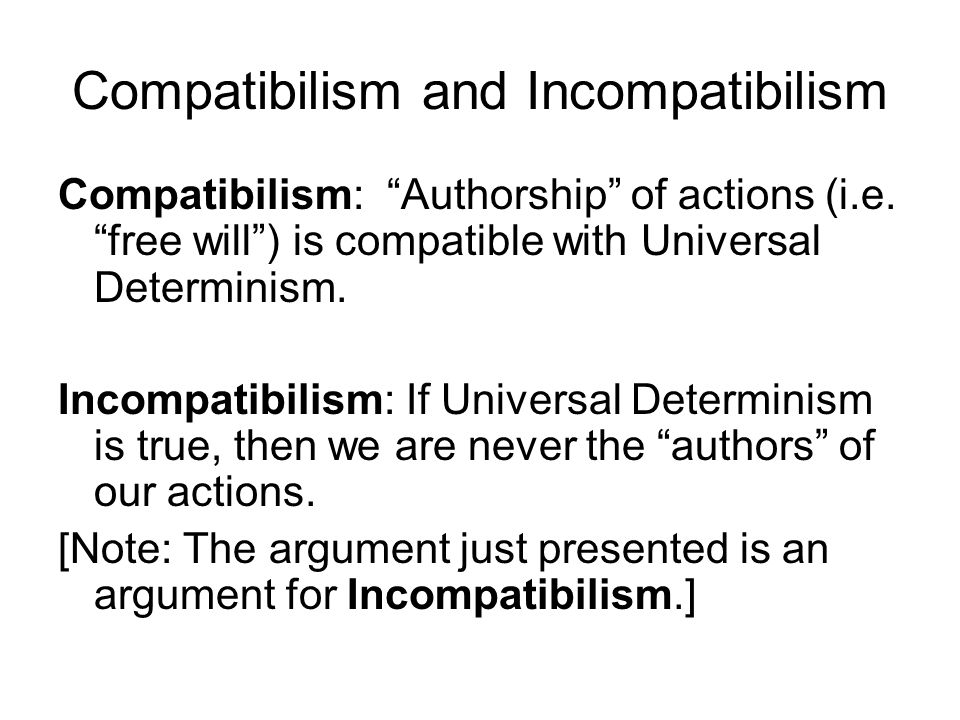 Compatibilism and Incompatibilism