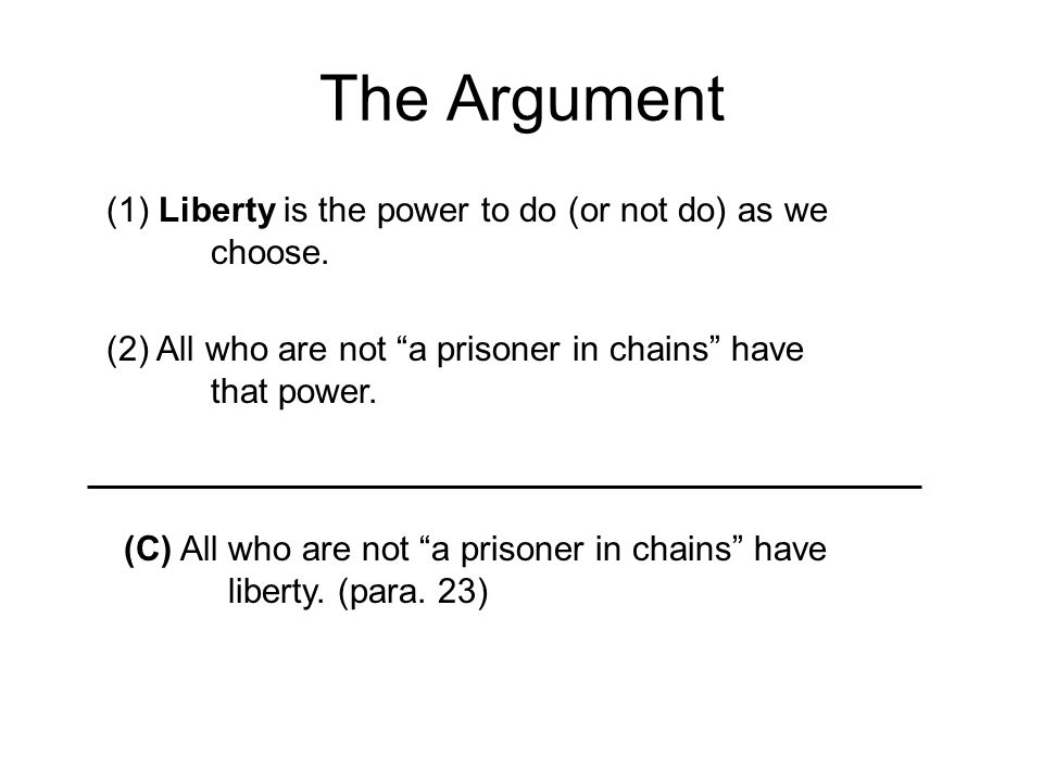 The Argument (1) Liberty is the power to do (or not do) as we choose.