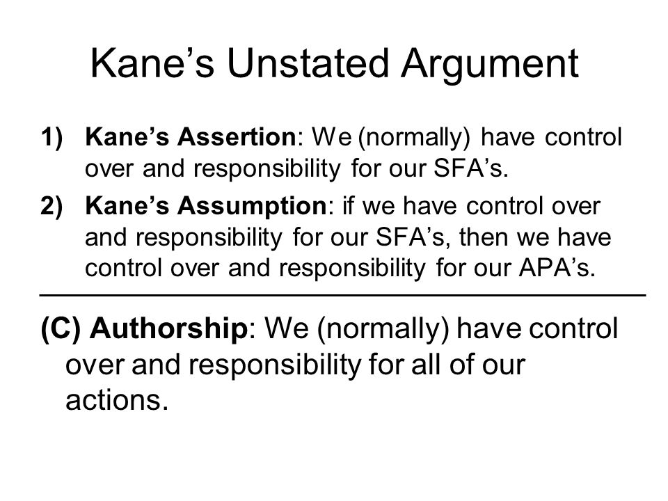 Kane's Unstated Argument