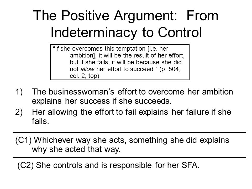 The Positive Argument: From Indeterminacy to Control