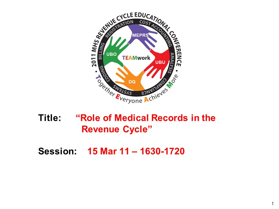 Track x – xxx day – 0000-0000 Title: Role of Medical Records in the Revenue Cycle Session: 15 Mar 11 – 1630-1720.
