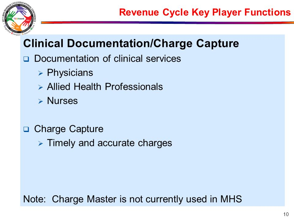 Revenue Cycle Key Player Functions