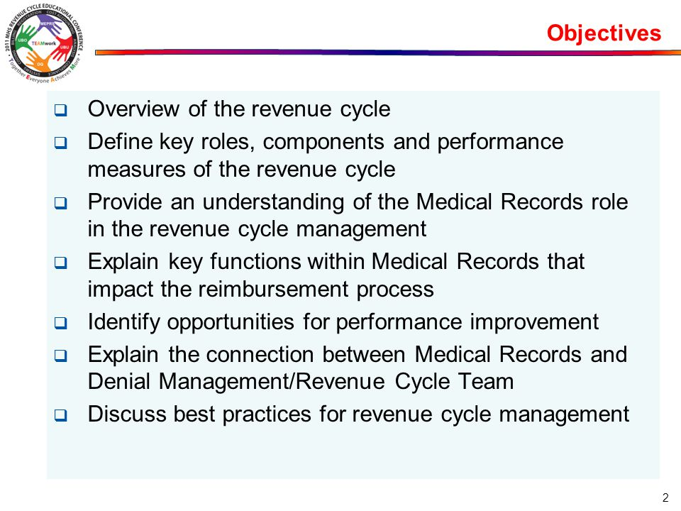 Objectives Overview of the revenue cycle. Define key roles, components and performance measures of the revenue cycle.