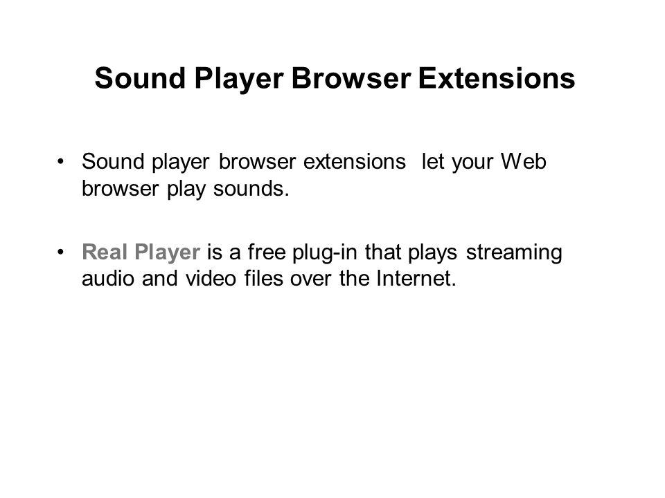 Sound Player Browser Extensions