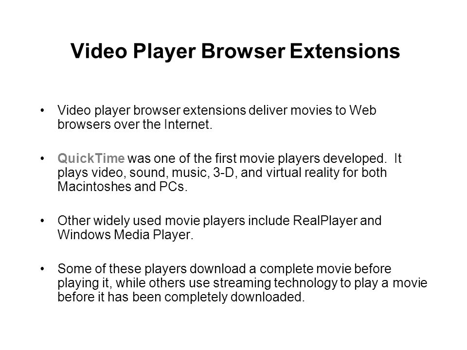 Video Player Browser Extensions