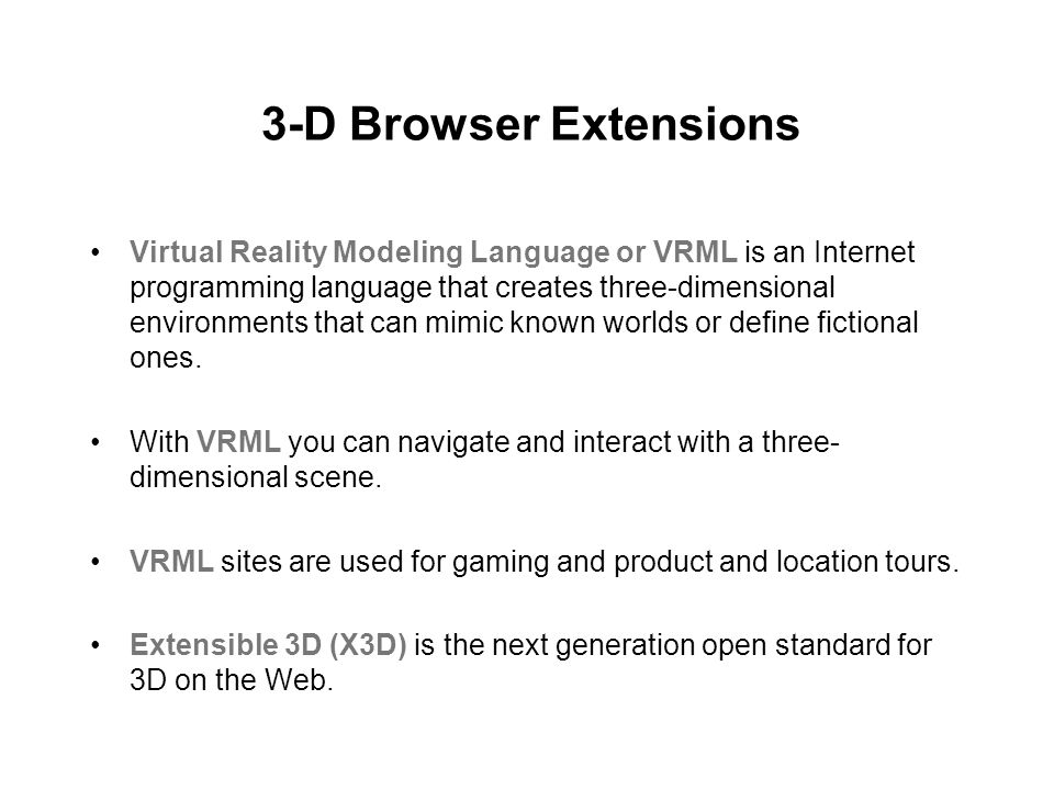 3-D Browser Extensions