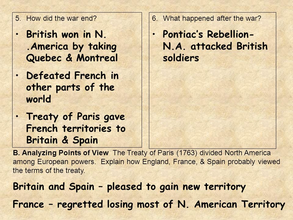 British won in N. .America by taking Quebec & Montreal