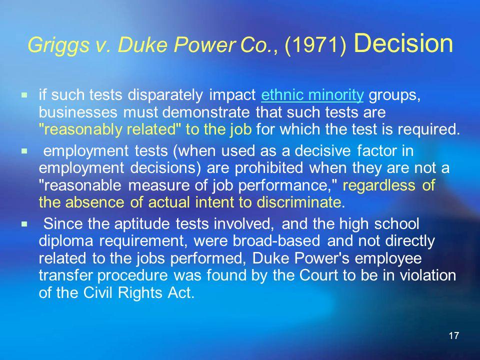 Griggs v. Duke Power Co., (1971) Decision