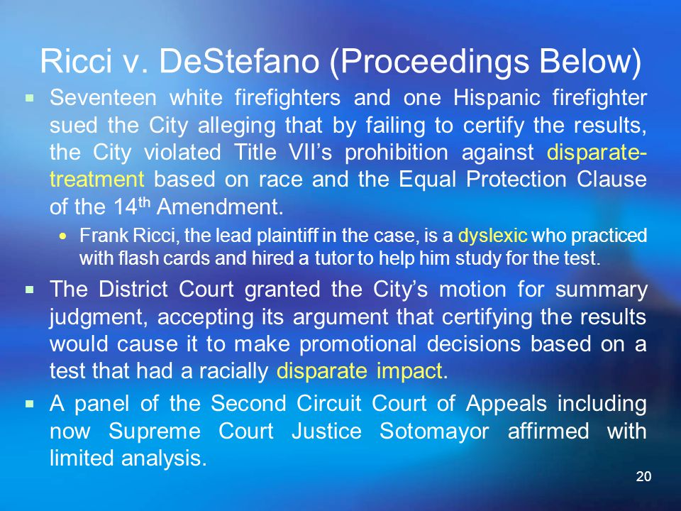 Ricci v. DeStefano (Proceedings Below)