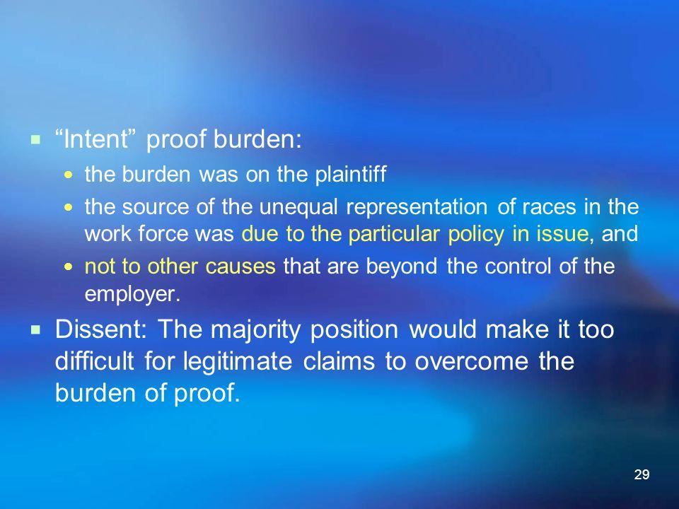 Intent proof burden:
