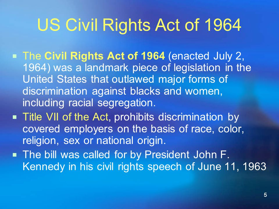 US Civil Rights Act of 1964