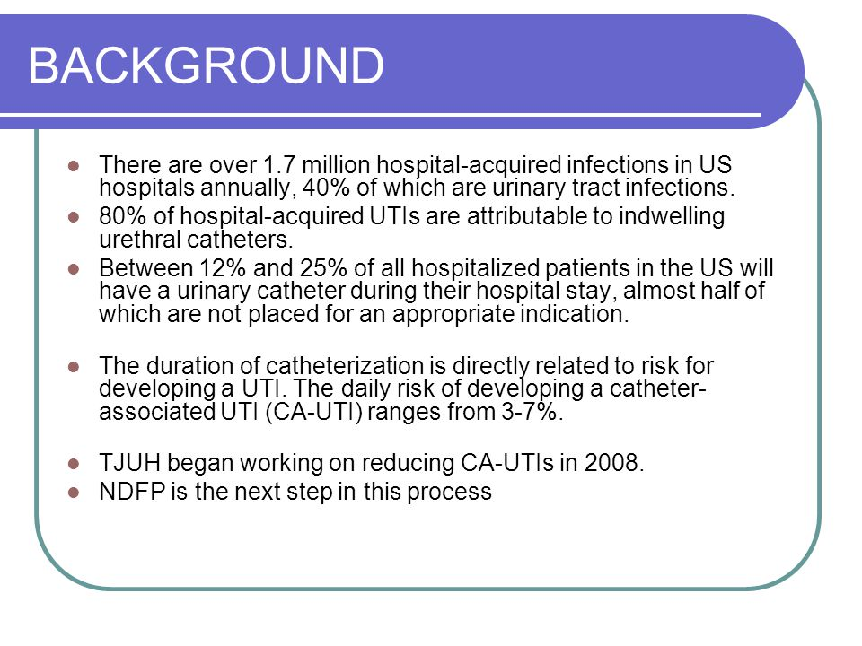 BACKGROUND There are over 1.7 million hospital-acquired infections in US hospitals annually, 40% of which are urinary tract infections.