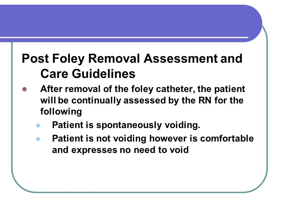 Post Foley Removal Assessment and Care Guidelines