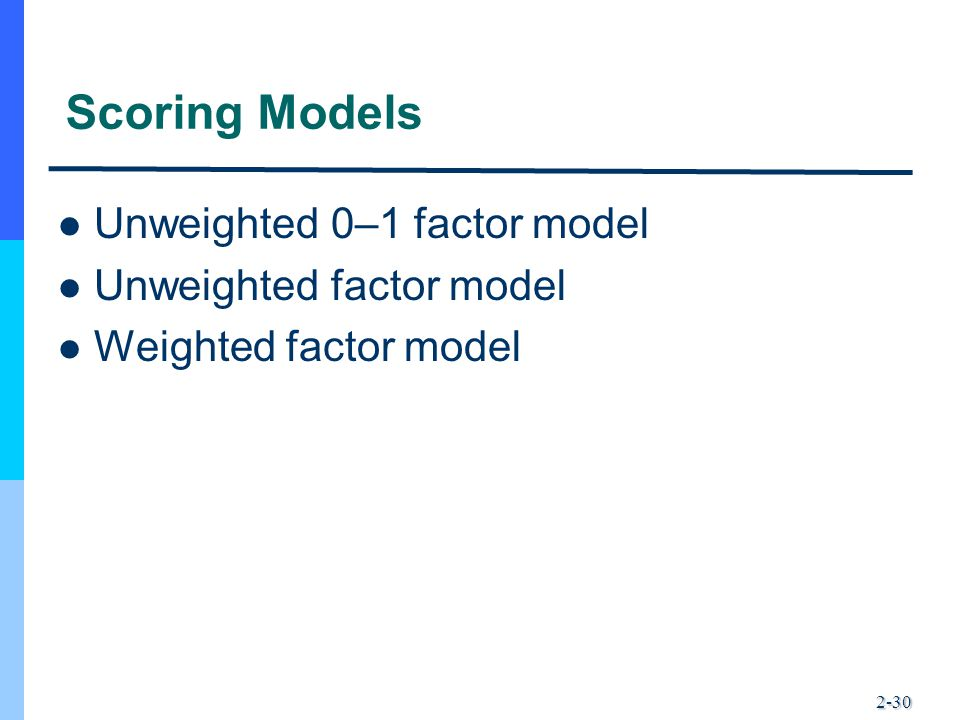 Scoring Models Unweighted 0–1 factor model Unweighted factor model