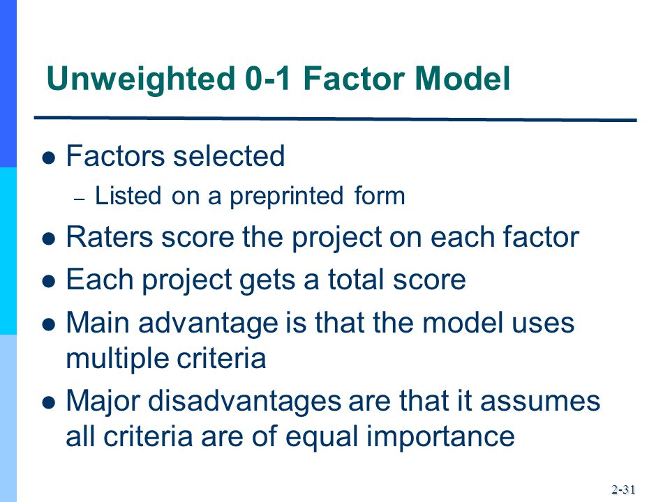 Unweighted 0-1 Factor Model