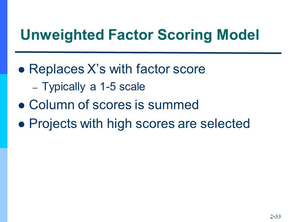 Unweighted Factor Scoring Model