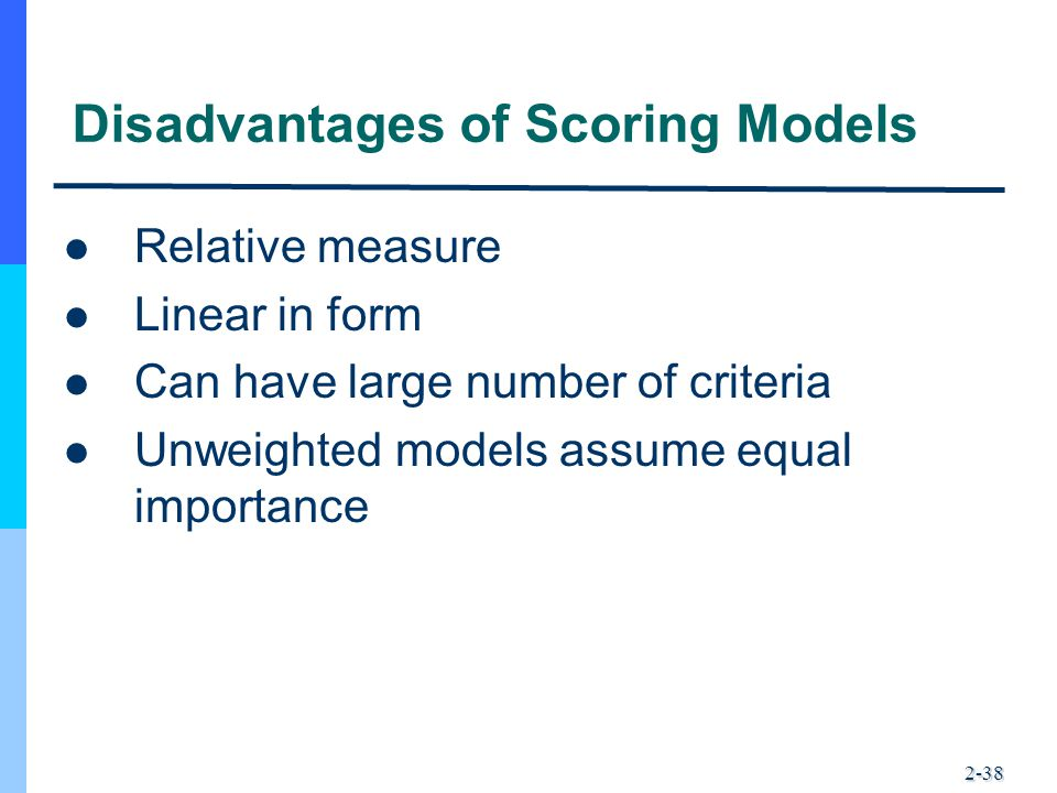 Disadvantages of Scoring Models
