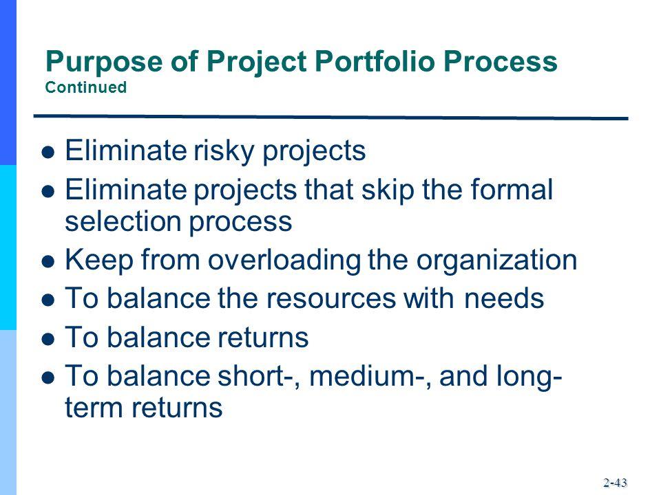 Purpose of Project Portfolio Process Continued